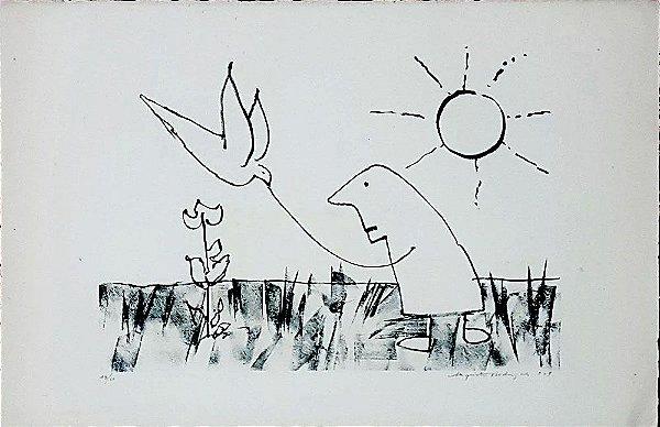 Augusto Rodrigues - Arte em Gravura Assinada, Homem Alimentando o Pássaro