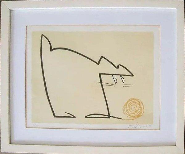 Gustavo Rosa - Arte em Gravura Original, Gato com Novelo de Lã, Moldura tipo Caixa
