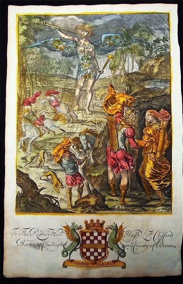 Pierre Lambert - Arte Antiga em Gravura Iluminura, Original de 1697, Dido e Enéias na Caverna