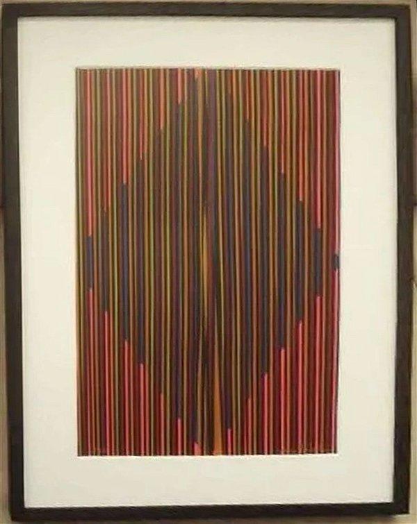 Vania Natalino - Arte em Gravura, Quadro de Serigrafia Original Assinada, Concretismo em Vermelho