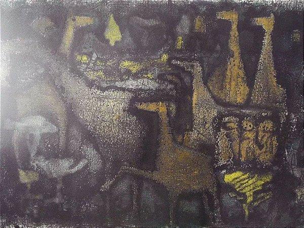 Hans Grudzinski - Gravura Original Assinada, Paisagem Noturna com Cavalos, Emoldurada