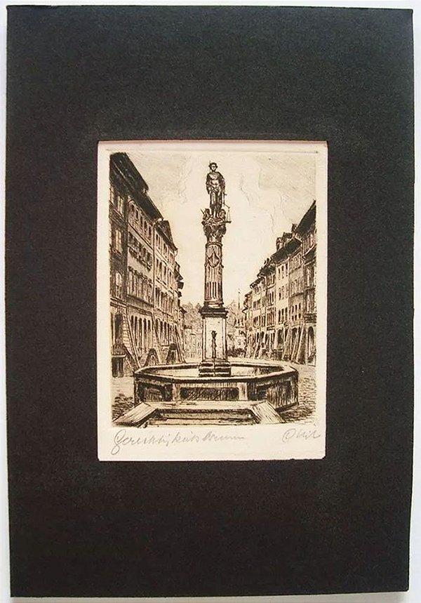 Arte em Gravura Assinada, Imagem Antiga Européia - Guardião