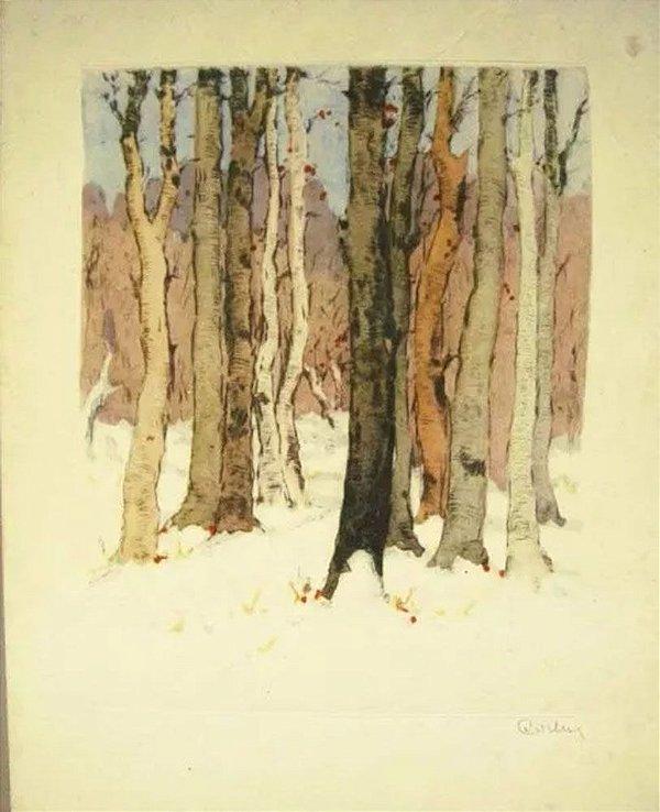 Csillag - Arte em Gravura Assinada, Inverno na Floresta