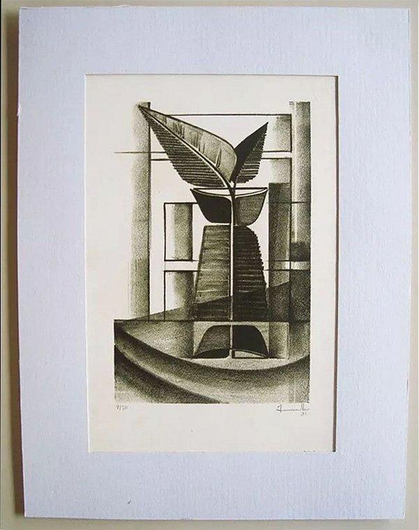 Gravura Assinada - Arte Abstrata Floral Botânica de 1981