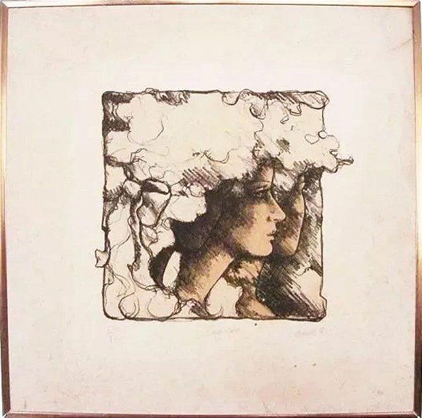 Daro - Quadro intitulado Segredo, Arte em Gravura sobre Eucatex, de 1981