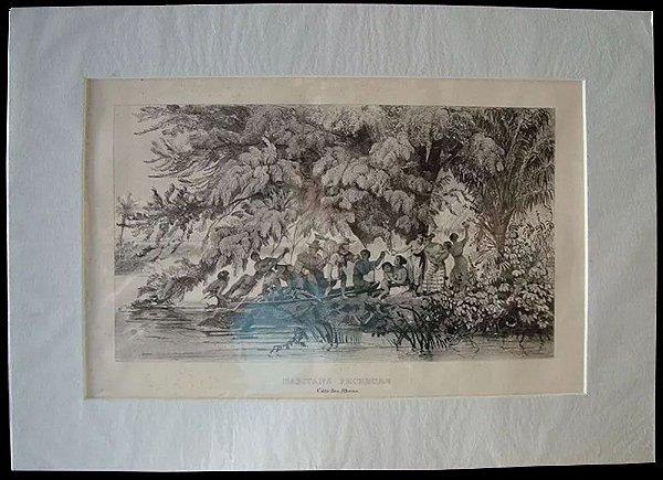 Arte em Gravura Litográfica Antiga de Obra de Debret, Pescadores em Ilhéus