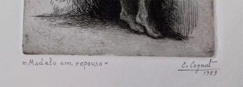 Edgard Cognat - Arte em Gravura Assinada, Modelo em Repouso