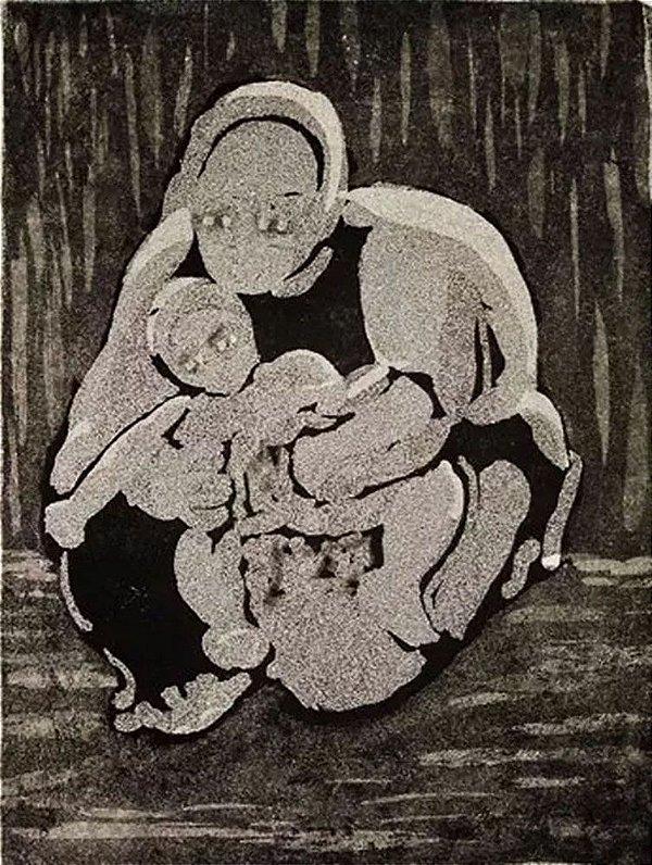 C. Azevedo - Arte em Gravura Prova de Artista Assinada, Maternidade, A Grande Mãe