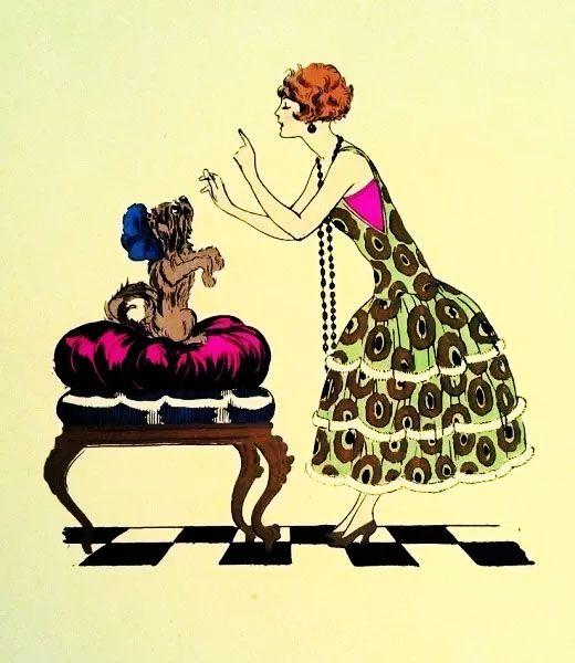 Arte em Gravura, Serigrafia Original do Período Art Déco, Dama e Cãozinho