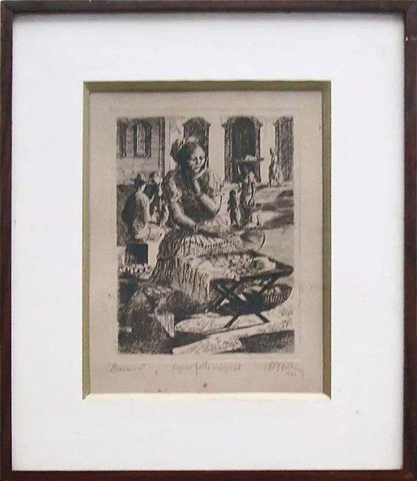 José Silveira D'ávila - Quadro, Arte em Gravura, Água Forte Original, Baiana do Acarajé