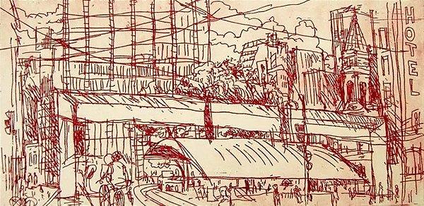 Paulo Von Poser - Arte em Gravura Assinada, Prova de Edição, Praça do Patriarca, SP