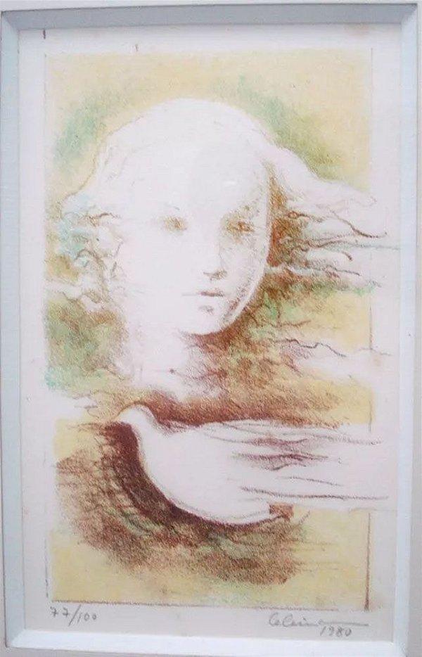 Celina - Quadro, Arte em Gravura Assinada e Emoldurada