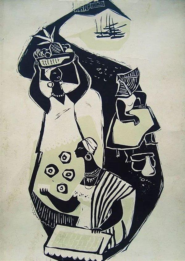 Quadro, Arte em Gravura Assinada, Datada de 1982 - Temática Costumes da Bahia