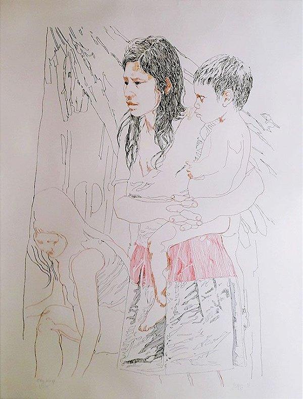 Sepp Baendereck - Arte em Gravura Assinada, Indio Curumim