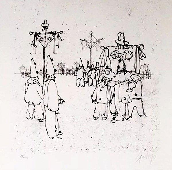 Mario Gruber -  Arte em Gravura, Litografia Original Assinada