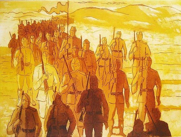 Chapman - Arte em Gravura Prova de Artista, Marchando contra Canudos