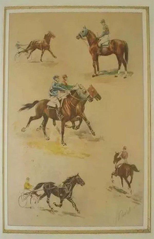 J. Rivet - Quadro, Arte em Gravura Iluminura Assinada, Temática Cavalos, Emoldurada