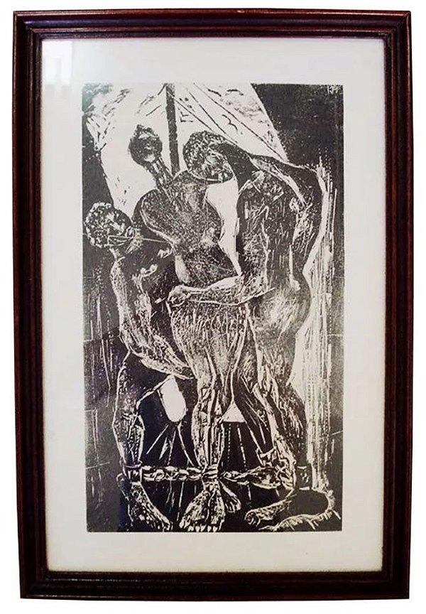 Hansen Bahia - Quadro - Arte em Gravura Original Monogramada Kh, Escravidão