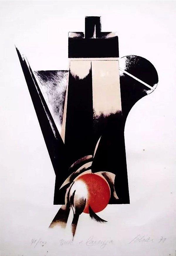 Carlos Scliar - Quadro, Arte em Gravura Assinada, de 1979, Bule e Laranja