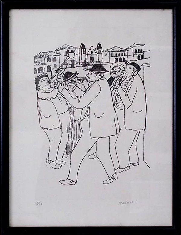 Fulvio Pennacchi - Quadro, Arte em Gravura, Assinada, Músicos