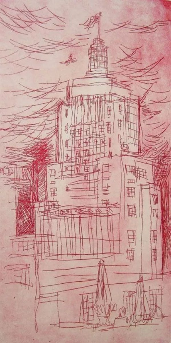 Paulo Von Poser - Arte em Gravura Assinada, Prédio do Banespa em São Paulo