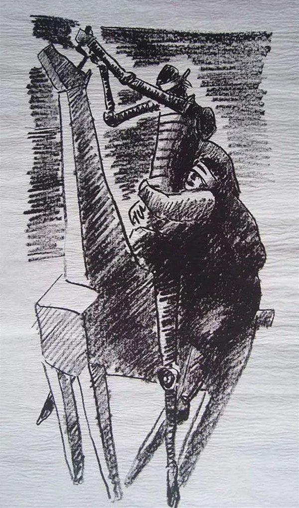Vasco Prado -  Arte em Gravura Original, Assinada, Dom Quixote e Sancho Pança