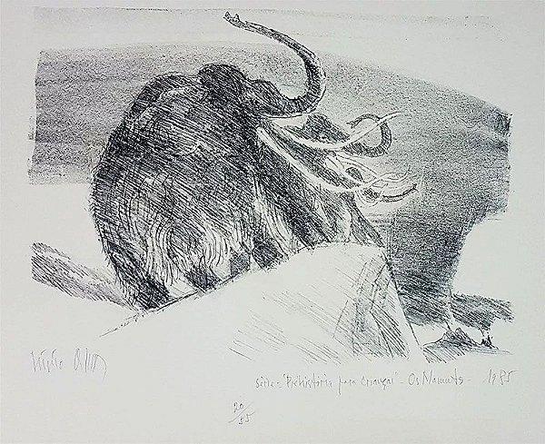 Livio Abramo - Arte em Gravura Original Assinada, Os Mamutes, 1985