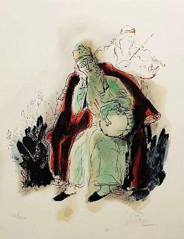 Reuven Rubin - Quadro, Arte em Gravura, Litografia Assinada, Músicos Hassídicos