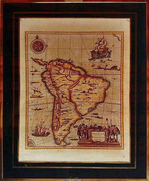 Quadro - Arte em Estampa Colorida, Mapa Amerique Meridionalis
