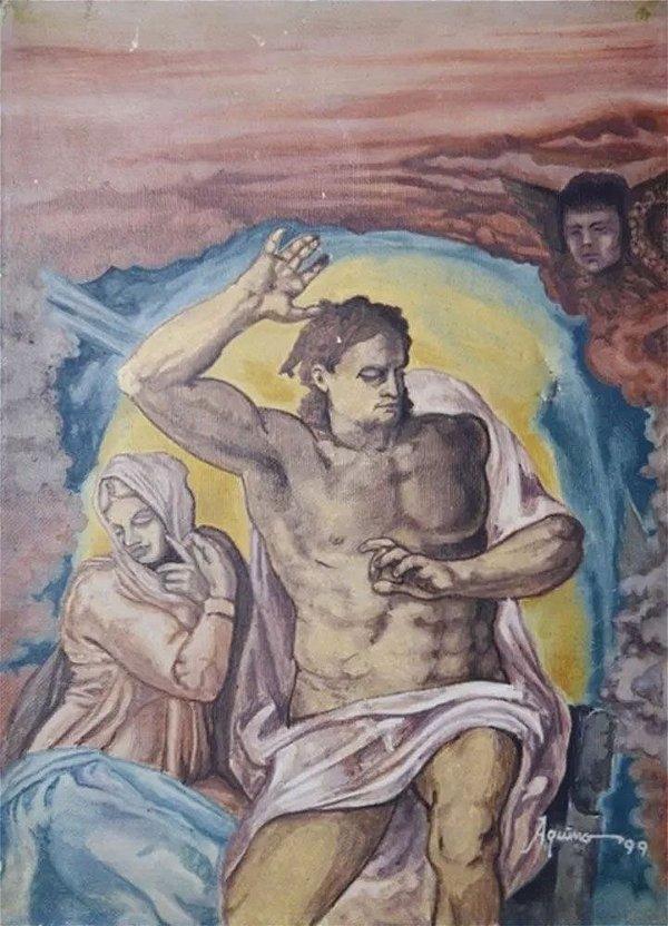 Aquino - Quadro, Arte em Pintura, Óleo sobre Tela, Assinada, Releitura do Juizo Final de Michelangelo