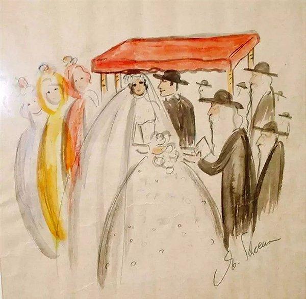 Egon Schoener -  Pintura, Aquarela Original, Assinada, Casamento Judaico