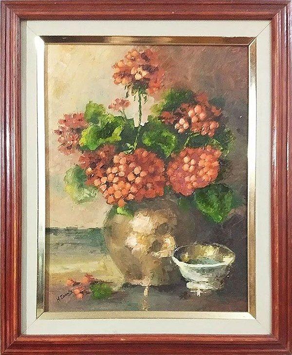 H. Zanata - Quadro, Arte em Pintura, Óleo sobre Tela, Vaso com Flores, Natureza Morta