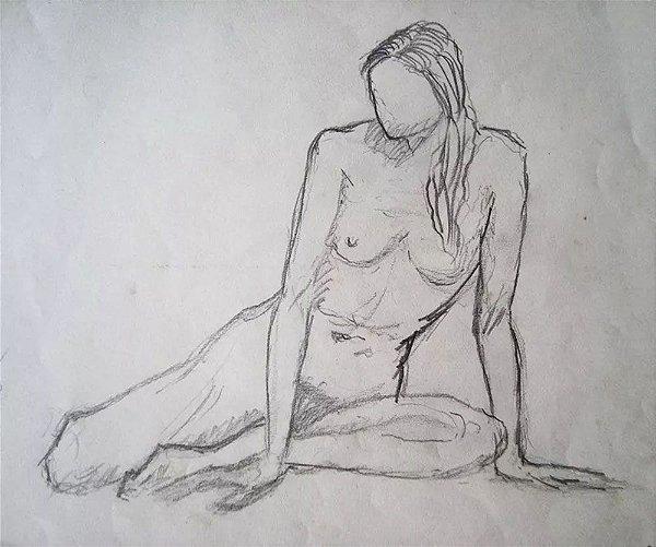 Antônio Eugênio Pascotto - Quadro, Arte em Desenho Assinado, Nú Feminino