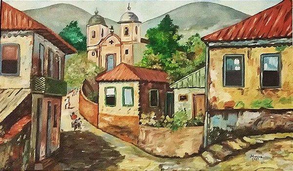 Marisa - Quadro, Arte em Pintura, Óleo sobre Tela, Casario Mineiro