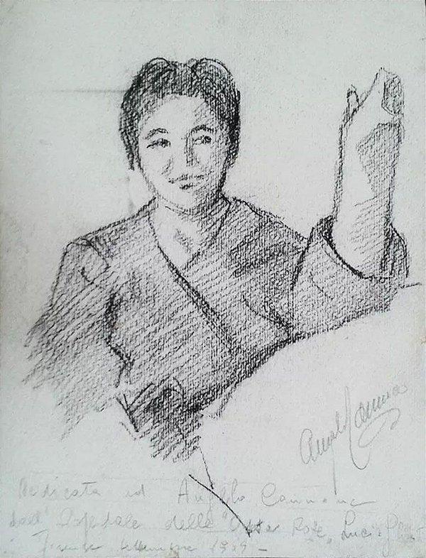 Angelo Canone - Quadro, Arte em Desenho A Lápis Assinado, de 1959