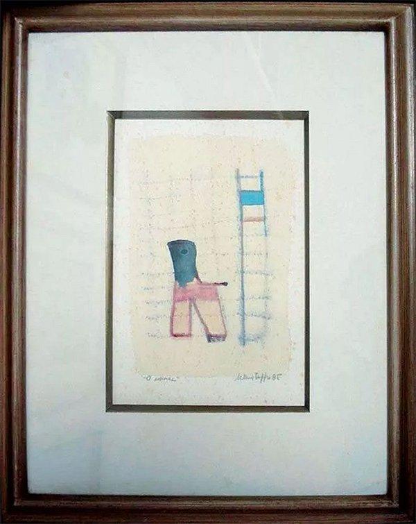 Selma Daffré - Quadro, Arte em Pintura Aquarela, Titulada O Animal, de 1985