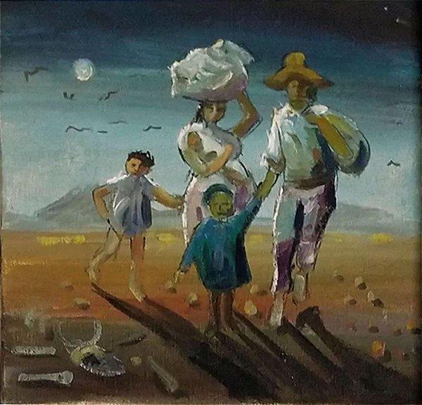 Homenagem a Portinari - Quadro, Arte em Pintura, Óleo sobre Tela, Retirantes