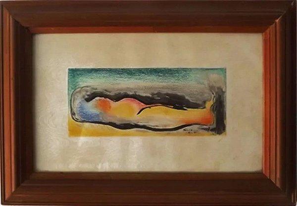 Elias Kaiuca - Quadro, Arte em Desenho, Técnica Mista sobre Papel, de 1980