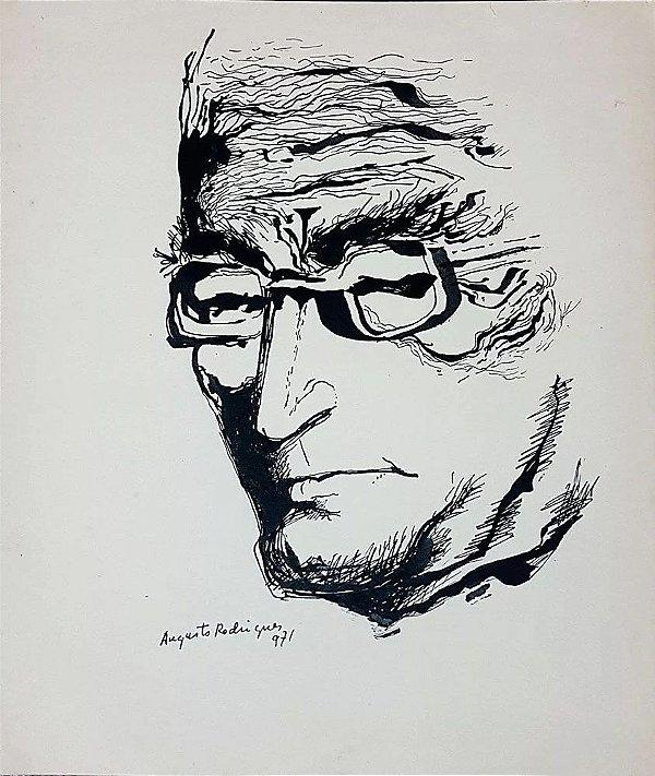 Augusto Rodrigues - Quadro, Arte em Desenho, Nanquim, Auto Retrato, de 1971