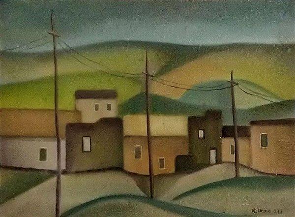 Klaudio Ursic - Quadro, Arte em Pintura, Óleo sobre Tela, Assinado, Casario
