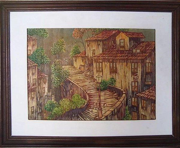Sergio Pinheiro - Quadro, Arte em Pintura, Óleo sobre Pirogravura, de 1985