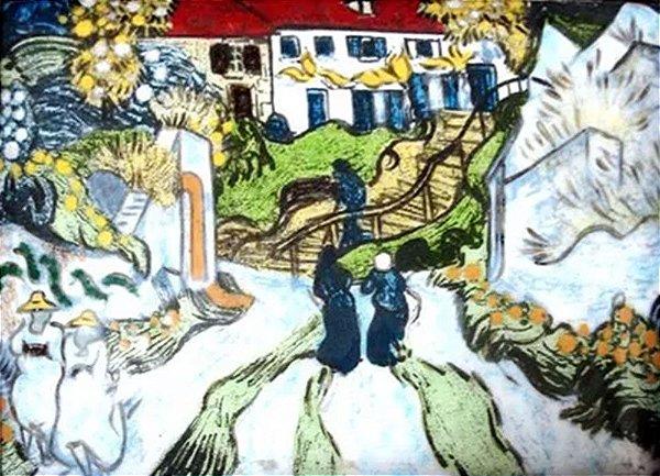 Van Gogh - Releitura, Quadro, Arte em Pintura, Técnica Esmalte sobre Metal