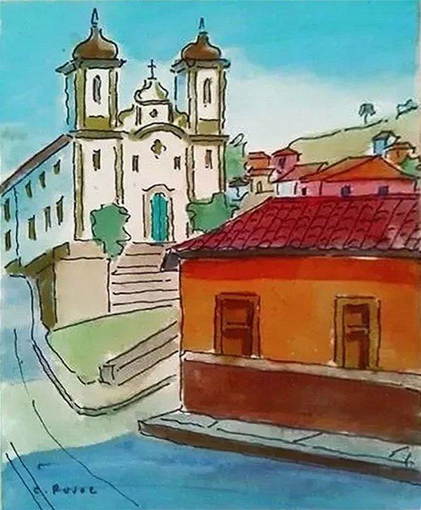 Collete Pujol - Quadro, Arte em Pintura, Aquarela Original, Casario Ouro Preto
