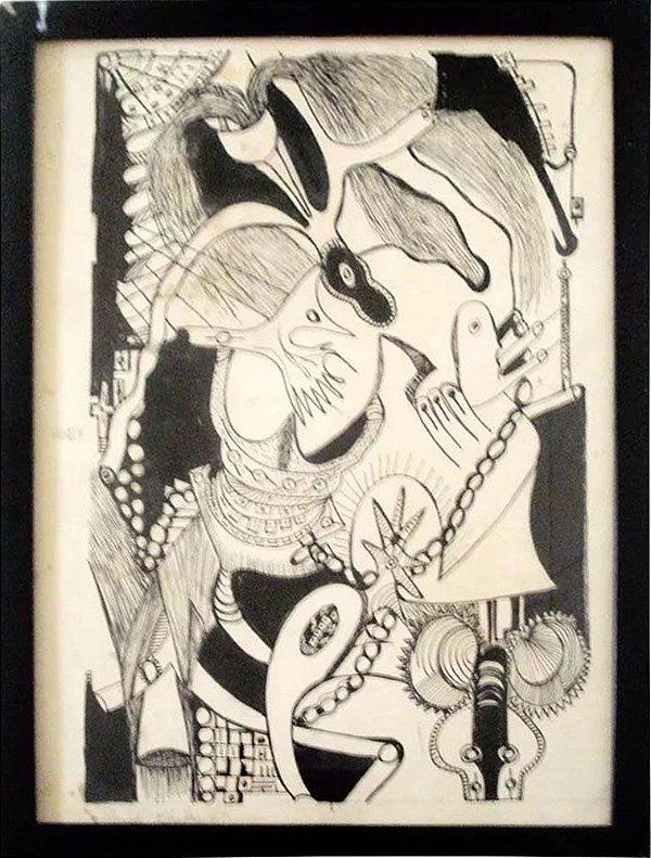 Sarah Chelar - Quadro, Arte em Desenho, Nanquim Original, Assinado, de 1967