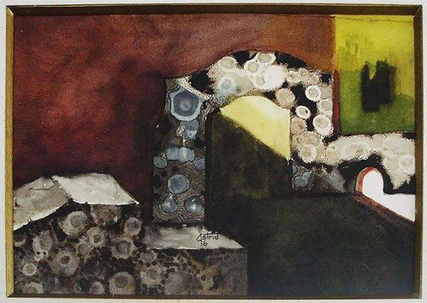 Astrid - Quadro, Arte em Pintura Aquarela Assinada, Original, de 1976