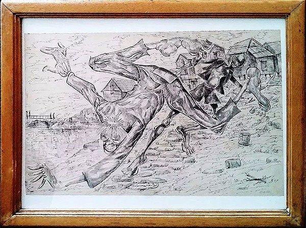 Agenor Silva - Quadro, Arte em Desenho a Nanquim, Assinado, Capoeira