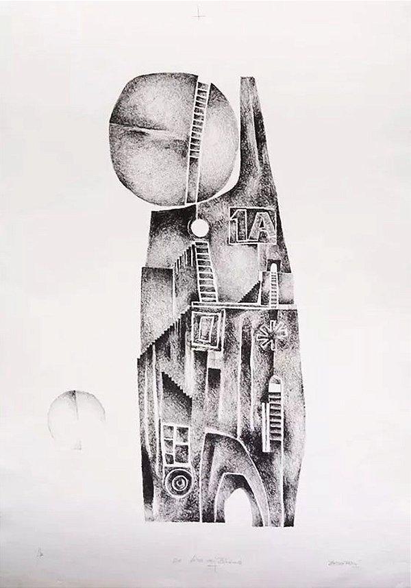 Elvio Becheroni - Quadro, Arte em Gravura, Litografia Original Assinada, Torre de Babel
