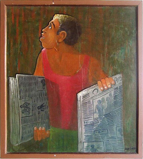 Santana - Quadro, Arte em Pintura, Óleo s/ Tela s/ Eucatex, O Jornaleiro