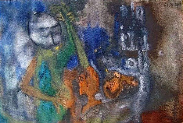 Aldo - Quadro, Arte em Desenho, Técnica Mista, Assinado, Músico, Musicista, Violoncelo