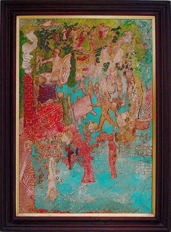 Tito Batini - Quadro, Arte em Pintura, Técnica Mista S/ Madeira Assinada, de 1976